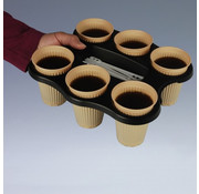PAPSTAR Tray voor 6 drinkbekers, PS zwart