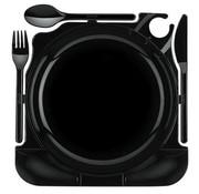PAPSTAR Cater Plates, PS 27 cm x 26,5 cm x 2,8 cm zwart