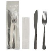 PAPSTAR Besteksets, gemetalliseerd 23,5 cm x 5 cm zilver : mes, vork, servet