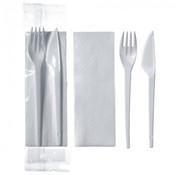 PAPSTAR Besteksets 23,5 cm x 5 cm wit 3 in 1: mes, vork, servet