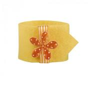 PAPSTAR Servettenring _ 4 cm geel 'Bloem'