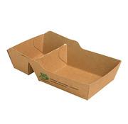100% Fair Frietbakje A7+1 (A23) met sausvak van bruin karton, 100% FAIR | 3,5cm x 7cm x 9cm