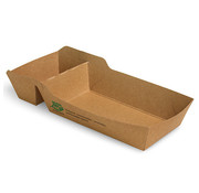 100% Fair Frietbakje A9+1 (A22) met sausvak van bruin karton, 100% FAIR | 3,5cm x 7cm x 12cm