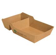 100% Fair Frietbakje met sausvak A14+1 (A20) van bruin karton, 100% FAIR | 3,8cm x 8,5cm x 15,5cm