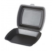 STARPAK Menuboxen met deksel, EPS 1-vaks 7,3 cm x 19,5 cm x 24 cm antraciet