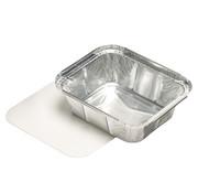 PAPSTAR Aluminium bak + ingelegd deksel, PE-gecoat plein 0,5 l 4,2 cm x 11,4 cm x 14 cm