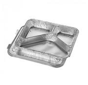 PAPSTAR Menuschalen met deksel, aluminium 3-vaks 760 ml 3 cm x 17,7 cm x 22,5 cm