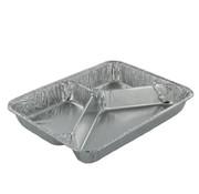 Menuschaal laag (3-vaks), Aluminium | 22,7x17,8cm