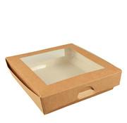 100% Fair Cateringdoos van bruin karton met PLA venster, 100% FAIR | 19cm x 19cm x 5cm