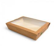 PAPSTAR Verpakkingen voor delicatessen, carton met venster van PLA 'pure' plein 1500 ml 4,5 cm x 21 cm x 16 cm bruin