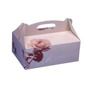 PAPSTAR Gebakdozen plein 16 cm x 10 cm x 9 cm rose met handvaten
