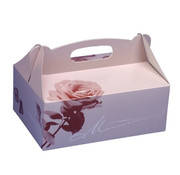 PAPSTAR Gebakdozen plein 23 cm x 16 cm x 9 cm rose met handvaten