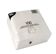 PAPSTAR 100 Servetten, 1-laags 1/4 vouw 33 cm x 33 cm wit