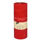 PAPSTAR Cylinderkaarsen _ 70 mm x 190 mm rood 'Rustiek' volledig gekleurd