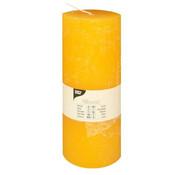PAPSTAR Cylinderkaarsen _ 70 mm x 190 mm geel 'Rustiek' volledig gekleurd
