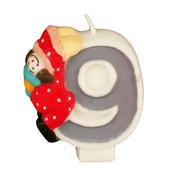 PAPSTAR Verjaardagskaarsjes 8 cm '9' Clown