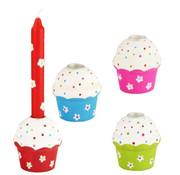 PAPSTAR Kandelaar, hout rond _ 4 cm x 5 cm gekleurde 'Cupcake'