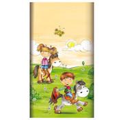 PAPSTAR Tafelkleed, papier 120 cm x 180 cm 'Pony Farm' met beschermingslaag