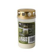 PAPSTAR Olie-Licht T3, 100 % Plantaardige Olie  _ 6,5 cm x 12,5 cm wit transparente Houder, met Gouden Deksel