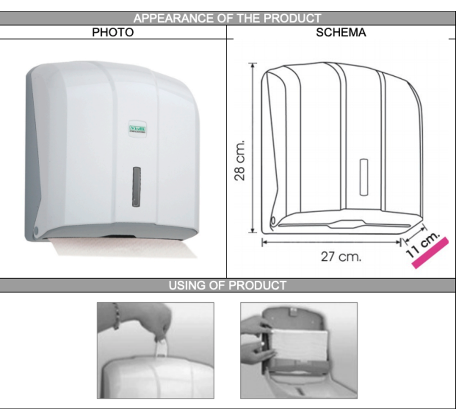 Z-vouw papieren handdoek dispenser 27cm in Wit / Zwart / Chroom