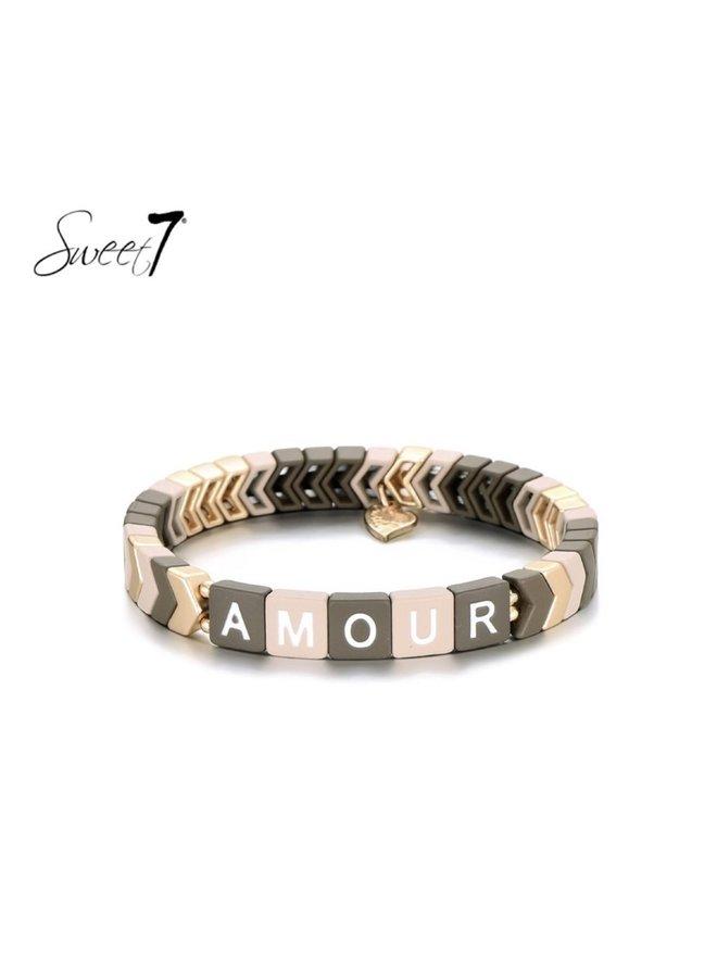 Bracelet Amourie kaki/soft pink