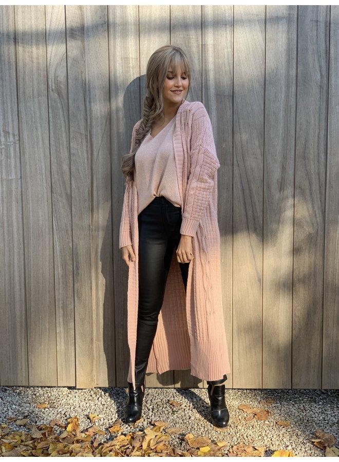 Long gilet Sarah pink