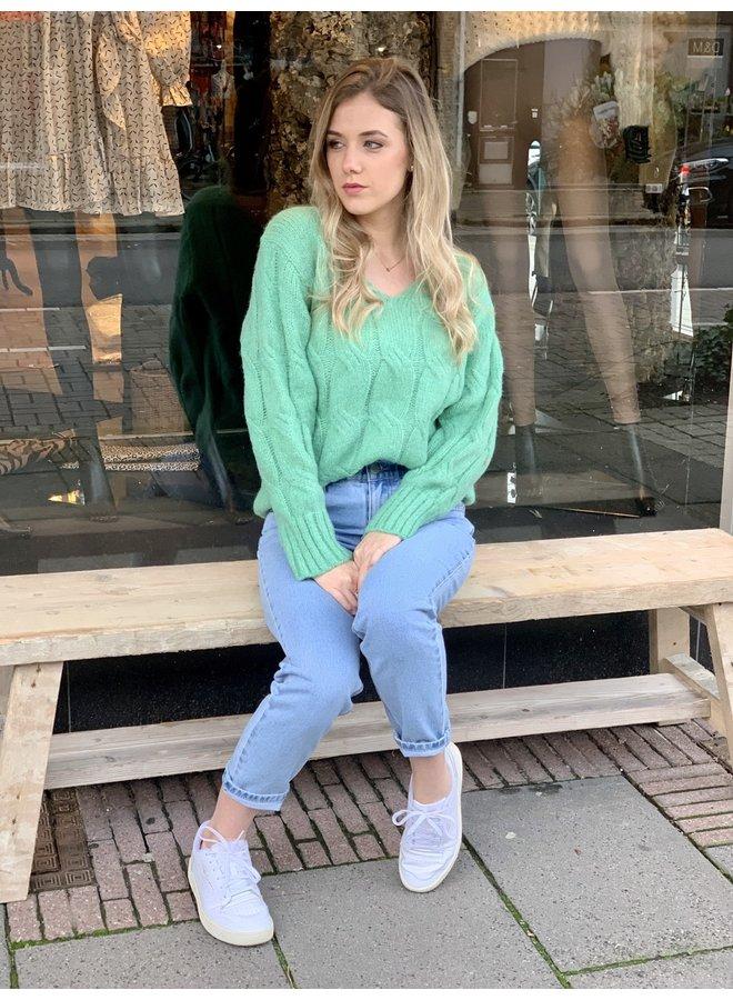 Cabel knit sweater Alda green