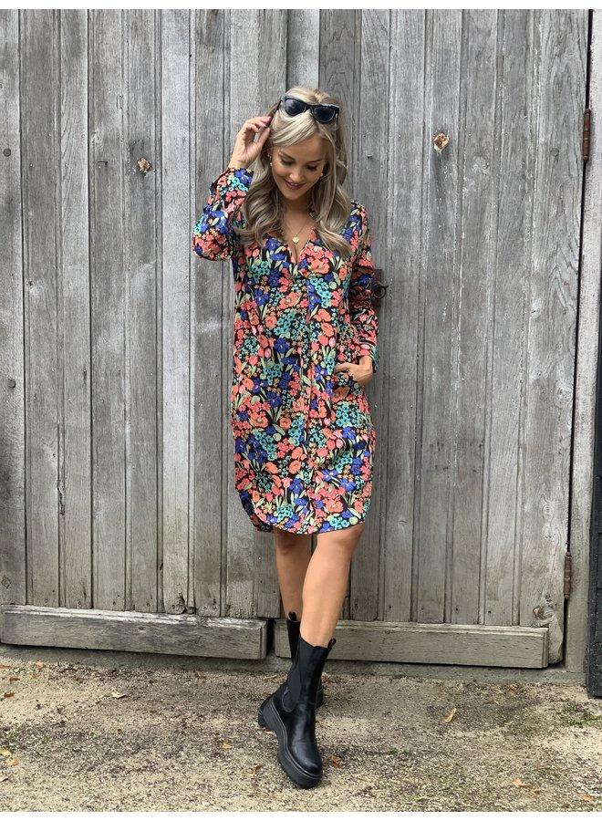 Dress Alda flower/blue