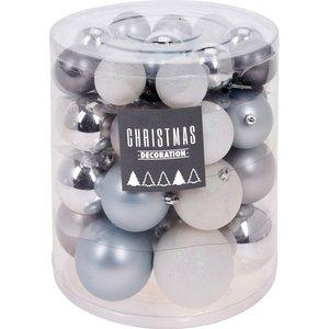 Christmas Decoration Kerstballenset - 44 stuks plastic - zilver-wit-frozen