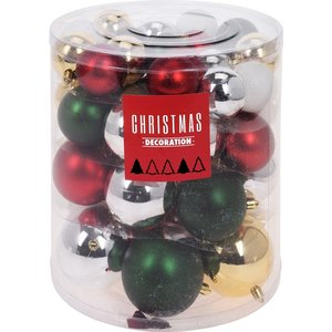 Christmas Decoration Kerstballenset - 44 stuks plastic - traditional mix