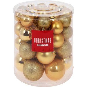 Christmas Decoration Kerstballenset - 44 stuks plastic - goud