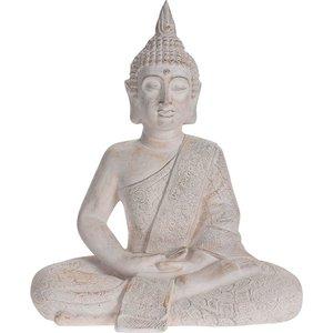 Boeddha zittend - Tuinbeeld - crème - 49cm