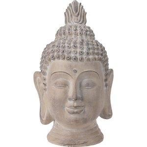 Boeddha Hoofd - Tuinbeeld - crème - 74.5cm