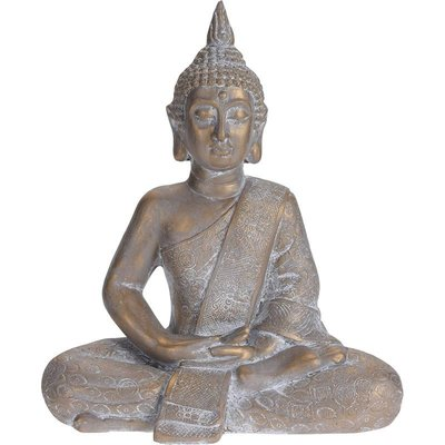 Boeddha zittend - Tuinbeeld - bronskleur - 49cm