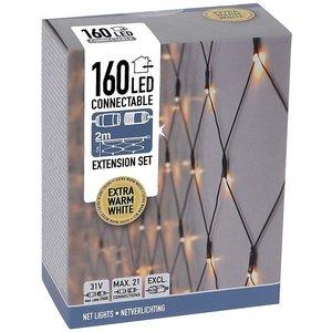 Koppelbare Netverlichting - 160 LED - 2m - extra warm wit