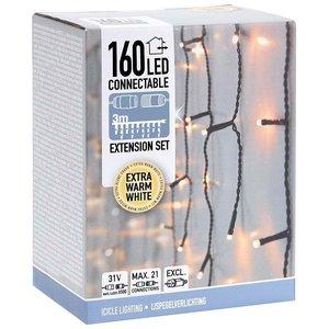 DecorativeLighting Koppelbare IJspegelverlichting - 160 LED - 3m - extra warm wit