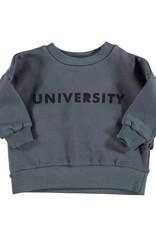 Piupiuchick Sweatshirt Anthracite with 'university' print baby
