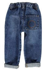 Piupiuchick Unisex trousers with buttons Washed blue denim jeans kid