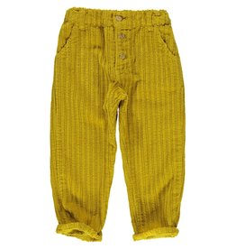 Piupiuchick Unisex trousers with wood buttons Mustard corduroy kid