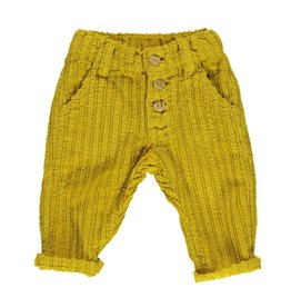 Piupiuchick Unisex trousers with wood buttons Mustard corduroy baby