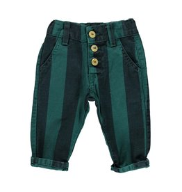 Piupiuchick Unisex trousers with buttons Emerald and grey stripes baby