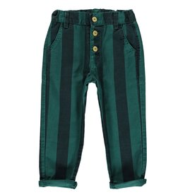 Piupiuchick Unisex trousers with buttons Emerald and grey stripes Kid