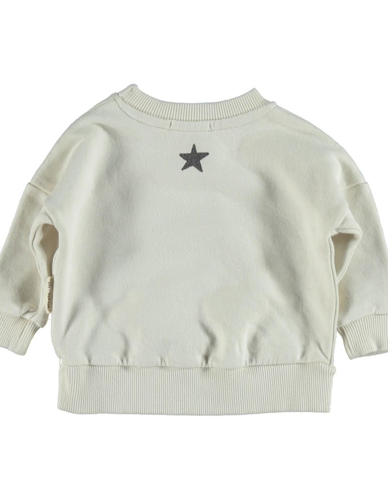 Piupiuchick Sweatshirt Ecru with 'old school' print baby