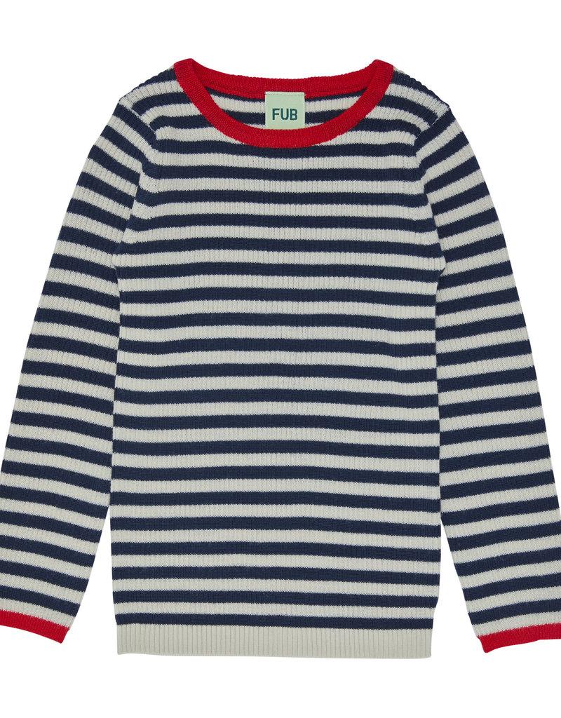 FUB Rib striped blouse ecru/navy