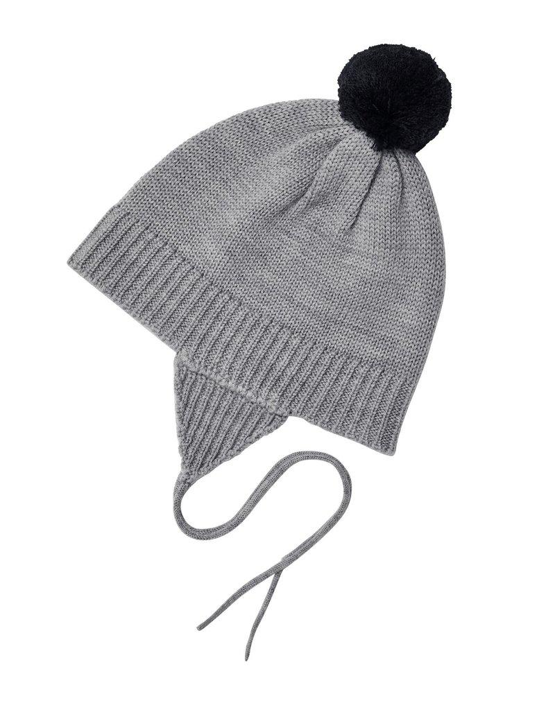 FUB Baby pompom hat light grey