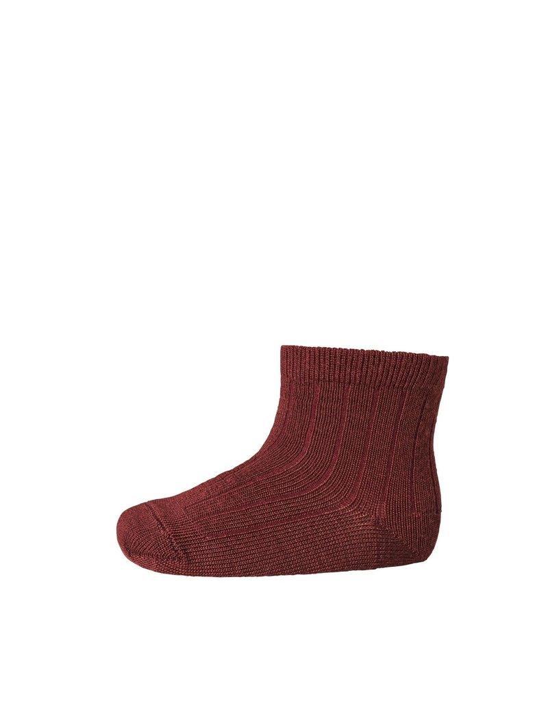 Mp. Denmark Ankle socks wool rib windsor red
