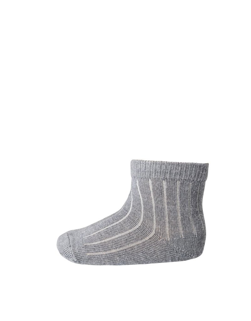 Mp. Denmark Ankle socks wool rib grey