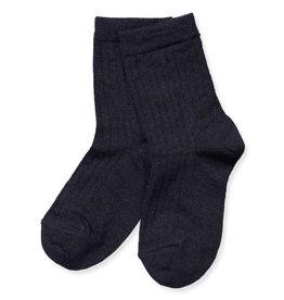 Mp. Denmark Ankle socks wool rib Navy