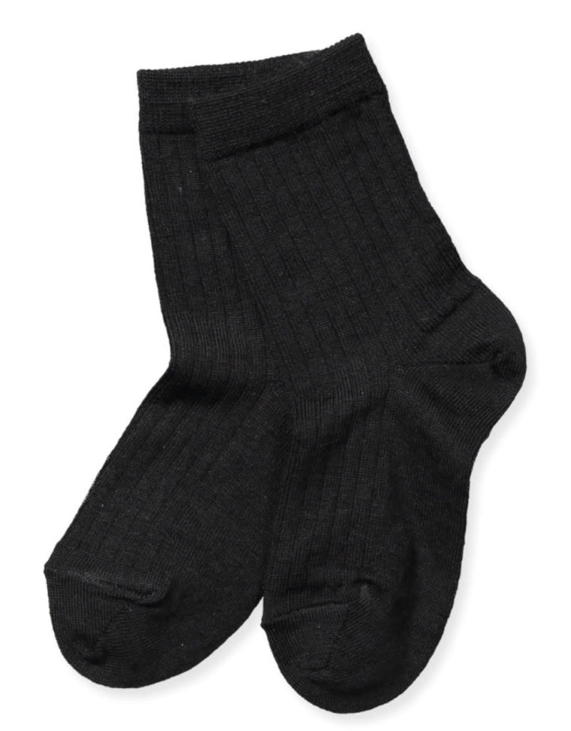 Mp. Denmark Ankle socks wool rib black