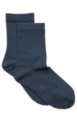 Mp. Denmark Ankle socks wool rib grey-blue melange